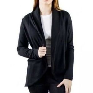 James Perse Open Front Sweat Jacket Black 2
